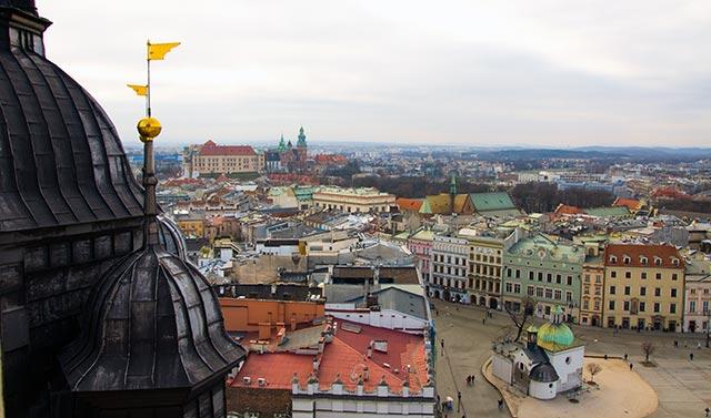 Podziwiamy Kraków z wieży Kościoła Mariackiego - wieża otwarta dla turystów