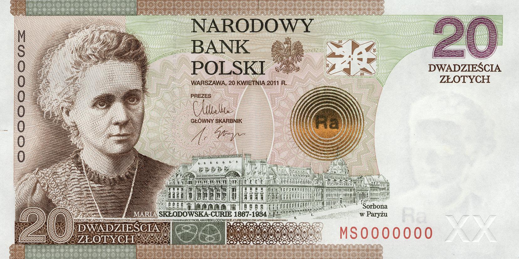 Maria Skłodowska-Curie znowu na banknocie