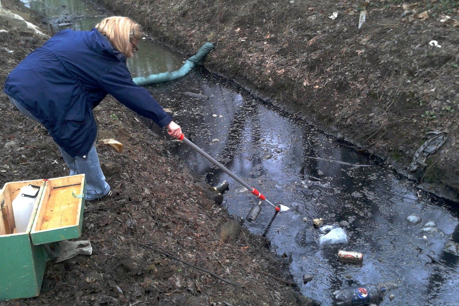 Strażnicy referatu ds. Ekologicznych ujawnili substancję ropopochodną w potoku