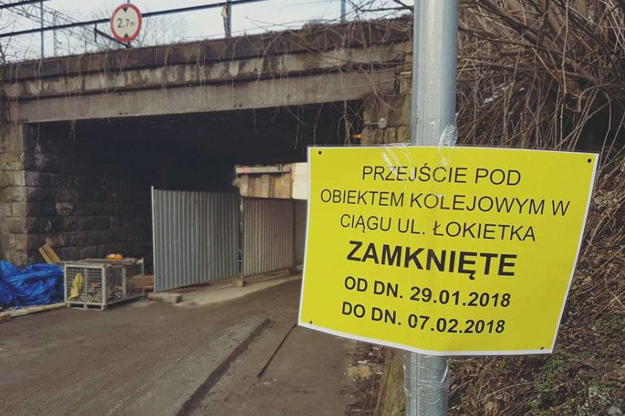 Od poniedziałku zamknięte przejście pod wiaduktem na ul. Łokietka