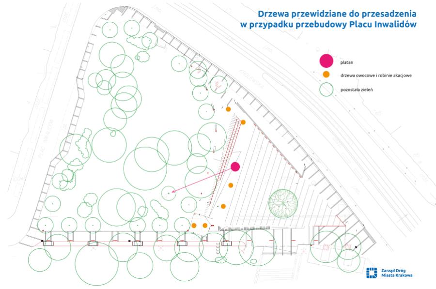 Plac Inwalidów przedłużeniem parku Krakowskiego